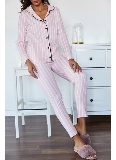 XHAN Bebek Pembesi Çizgili Pamuklu Örme Pijama Takımı  Pembe